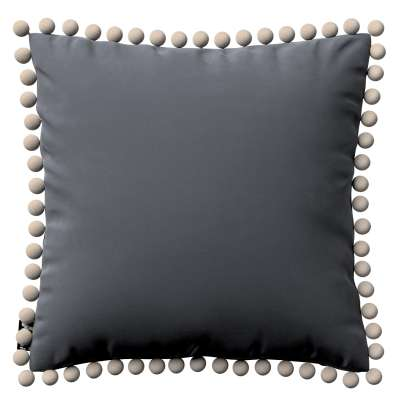 Daisy cushion covers with pom poms 704-12 graphite grey Collection Posh Velvet