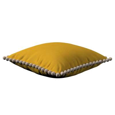 Daisy cushion covers with pom poms 705-04 mustard Collection Lillipop