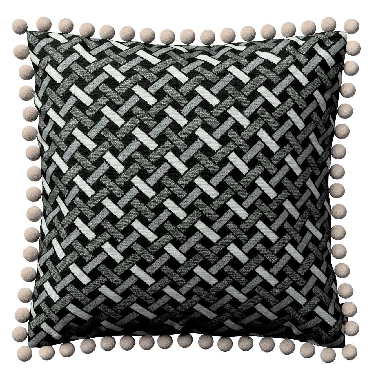 Tyynynpäällinen<br/>Vera tupsuilla mallistosta Black & White, Kangas: 142-87
