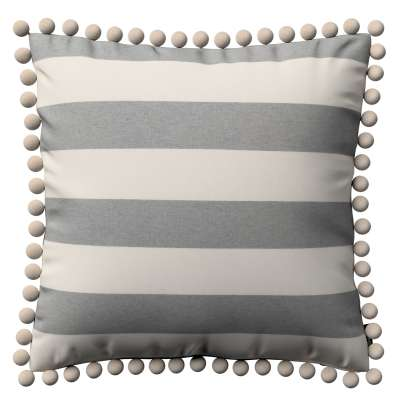 Poszewka Wera na poduszkę 142-71 biało - szare pasy (5,5cm) Kolekcja Quadro