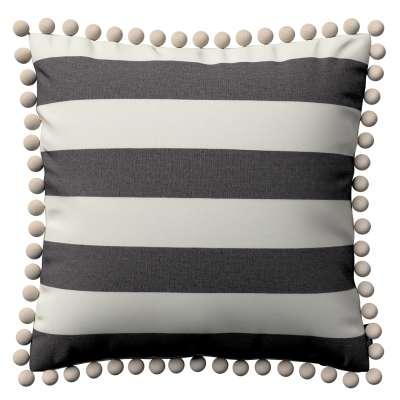 Kussenhoes Wera met pompons 142-72 wit-grijs gestreept Collectie Quadro