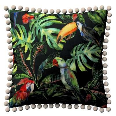 Wera dekoratyvinės pagalvėlės užvalkalas su žaismingais kraštais 704-28 papūgos ir tukanai juodame fone Kolekcija Velvetas/Aksomas