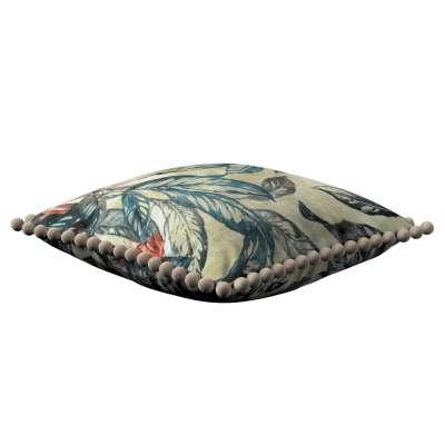 Poszewka Wera na poduszkę 143-08 liście w odcieniach zieleni, niebieskiego, czerwieni na beżowym tle Kolekcja Abigail