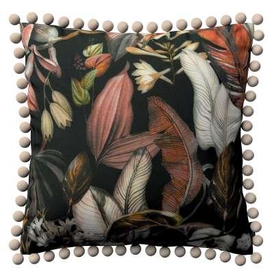 Poszewka Wera na poduszkę 143-10 kolorowe kwiaty na czarnym tle Kolekcja Abigail