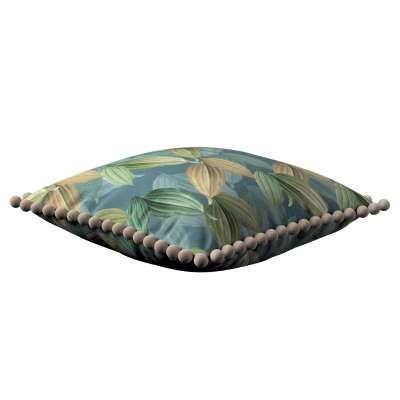 Poszewka Wera na poduszkę 143-20 zielone, beżowe liście na niebiesko-zielonym tle Kolekcja Abigail