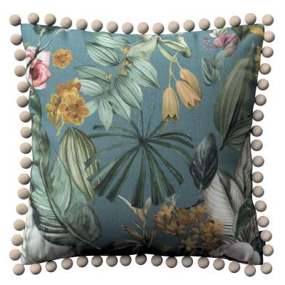 Párnahuzat Wera 143-24 virágok zöldes-kék háttéren Méteráru Abigail