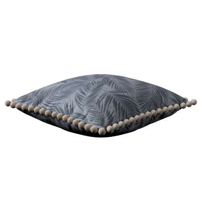 Poszewka Wera na poduszkę 143-53 grafitowe liście na szaro-srebrnym tle Kolekcja Venice