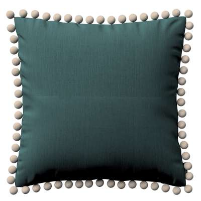 Vera cushion cover with pom poms 159-09 off emerald green Collection Linen
