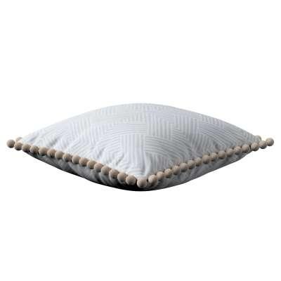 Wera dekoratyvinės pagalvėlės užvalkalas su žaismingais kraštais 143-43 smėliškai pilkai balti geometriniai raštai Kolekcija Sunny