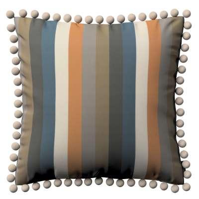 Poszewka Wera na poduszkę 143-58 kolorowe pasy w rudo-brązowo-niebieskiej kolorystyce Kolekcja Vintage 70's