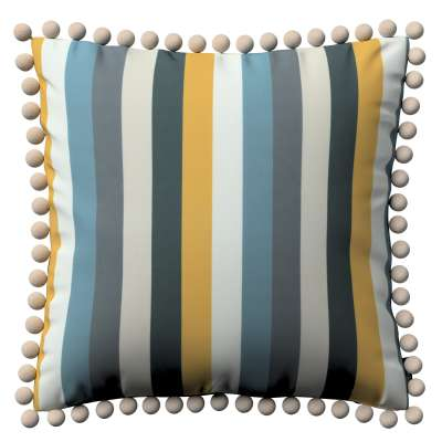 Vera cushion cover with pom poms 143-59 blue-yellow-gray Collection Vintage 70's