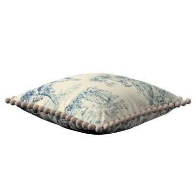 Putetrekk<br/>Vera med pomponer 132-66 Blå print, creme bakgrunn Kolleksjon Avinon