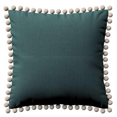 Daisy pagalvėlės užvalkalas  pom poms 159-09 žalias smaragdo Kolekcija Nature -100% linas