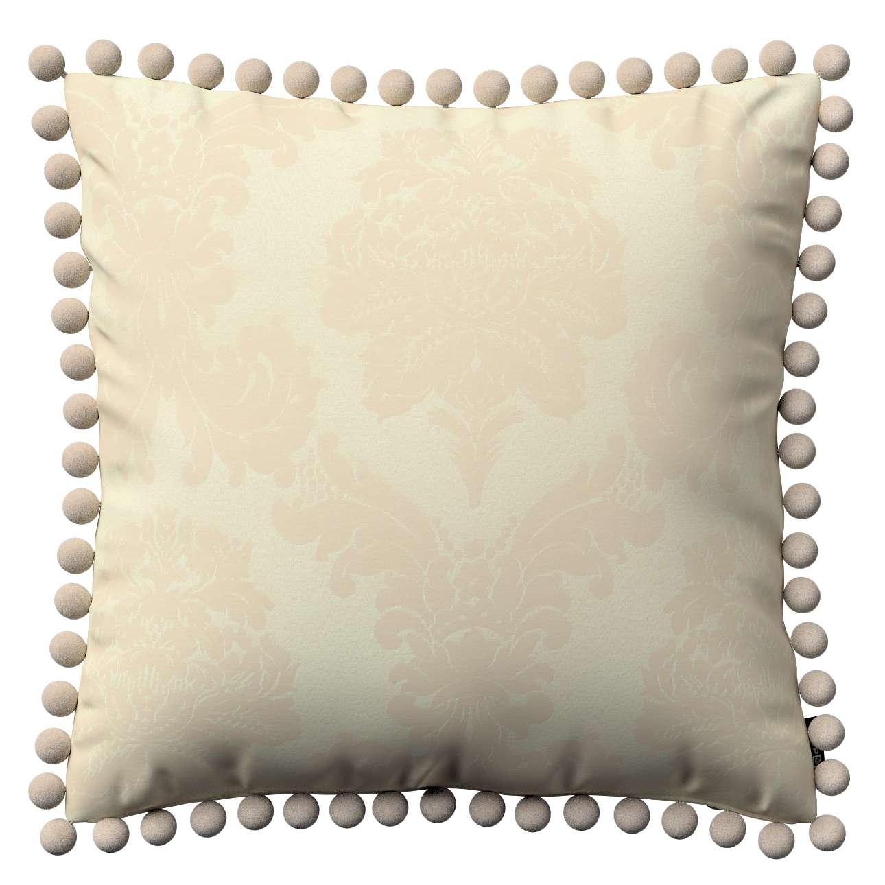 Wera dekoratyvinės pagalvėlės užvalkalas su žaismingais kraštais 45 x 45 cm kolekcijoje Damasco, audinys: 613-01