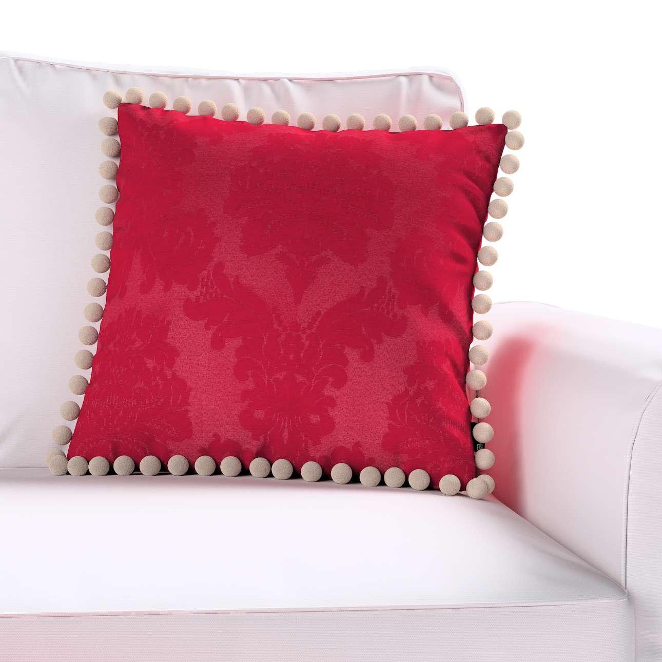 Wera dekoratyvinės pagalvėlės užvalkalas su žaismingais kraštais kolekcijoje Damasco, audinys: 613-13