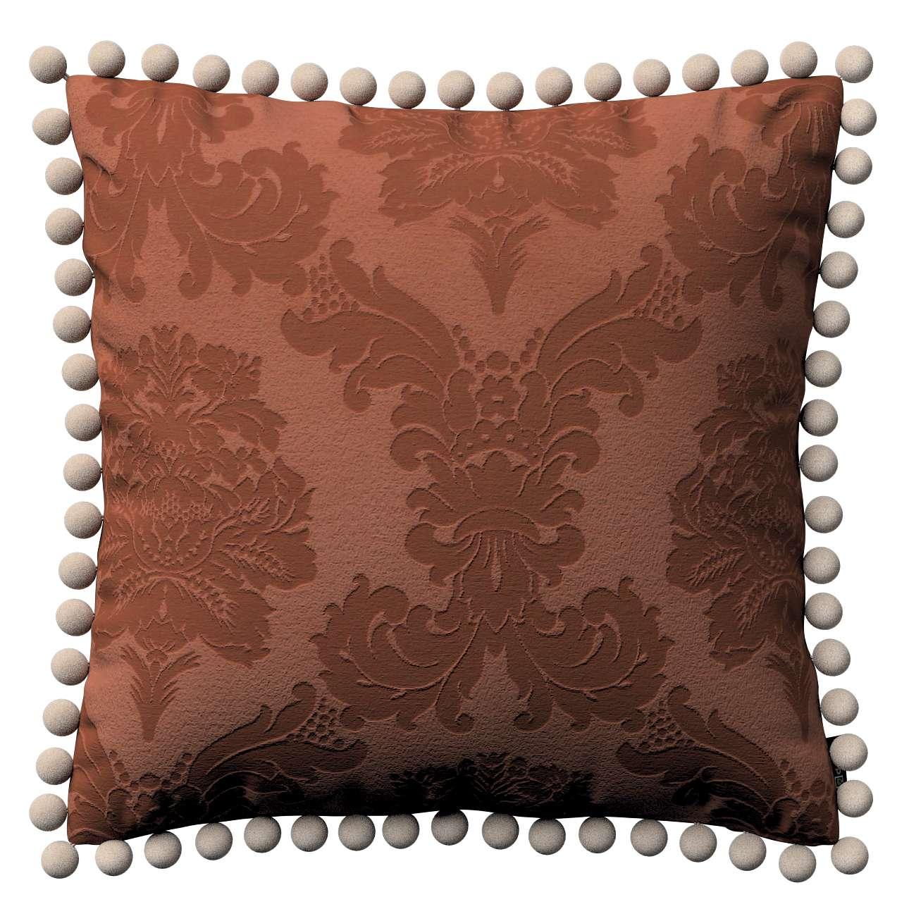 Wera dekoratyvinės pagalvėlės užvalkalas su žaismingais kraštais 45 × 45 cm kolekcijoje Damasco, audinys: 613-88