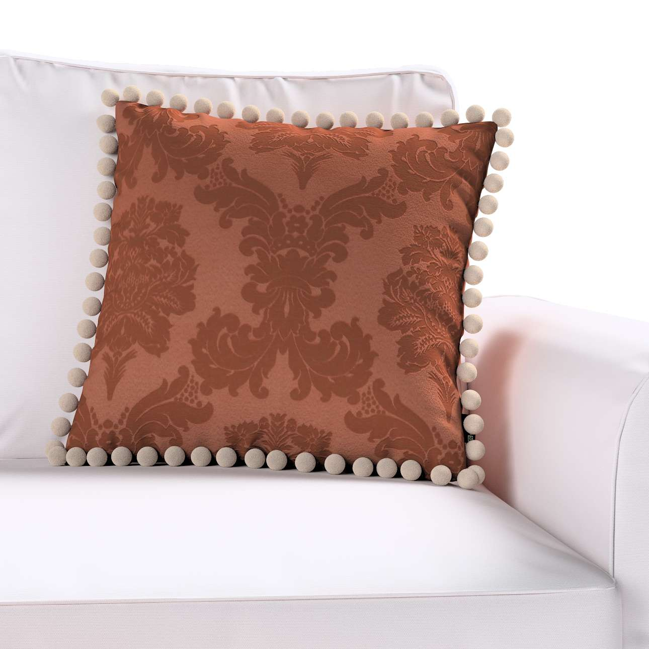 Wera dekoratyvinės pagalvėlės užvalkalas su žaismingais kraštais kolekcijoje Damasco, audinys: 613-88