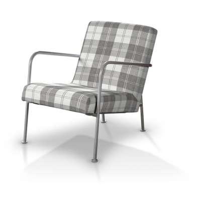 Pokrowiec na fotel Ikea PS 115-79 krata szaro-biała Kolekcja Edinburgh