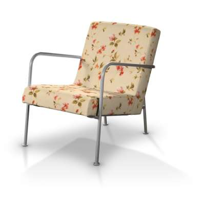 Huzat Ikea PS fotelhez 124-05 piros, narancsárga, rózsaszín virágok, bézs háttérrel Méteráru Londres Bútorszövet