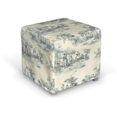 Solsta trekk puff 132-66 Blå print, creme bakgrunn Kolleksjon Avinon