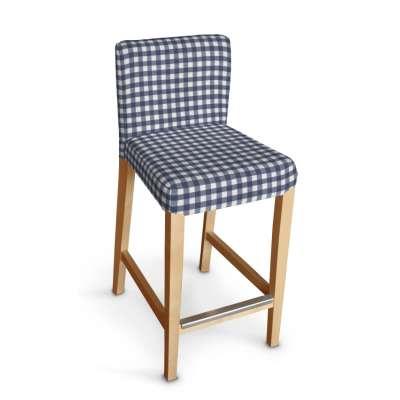Sukienka na krzesło barowe Henriksdal krótka 136-01 granatowo biała kratka (1,5x1,5cm) Kolekcja Quadro