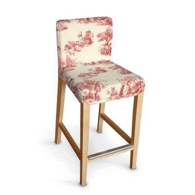Návlek na barovú stoličku Henriksdal, krátky 132-15 decentný bordový vzor na svetlobéžovom podklade Kolekcia Avinon