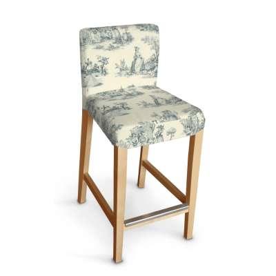Henriksdal barstol trekk 132-66 Blå print, creme bakgrunn Kolleksjon Avinon