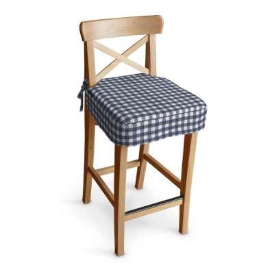 Siedzisko na krzesło barowe Ingolf 136-01 granatowo biała kratka (1,5x1,5cm) Kolekcja Quadro