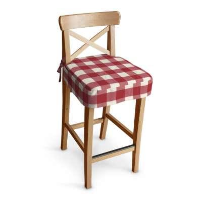 Siedzisko na krzesło barowe Ingolf 136-18 czerwono biała krata (5,5x5,5cm) Kolekcja Quadro