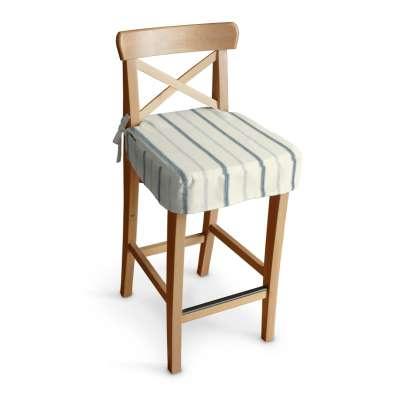 Siedzisko na krzesło barowe Ingolf 129-66 ecru tło, niebieskie paski Kolekcja Avinon