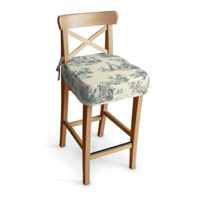 Ingolf Barstol sittepute 132-66 Blå print, creme bakgrunn Kolleksjon Avinon