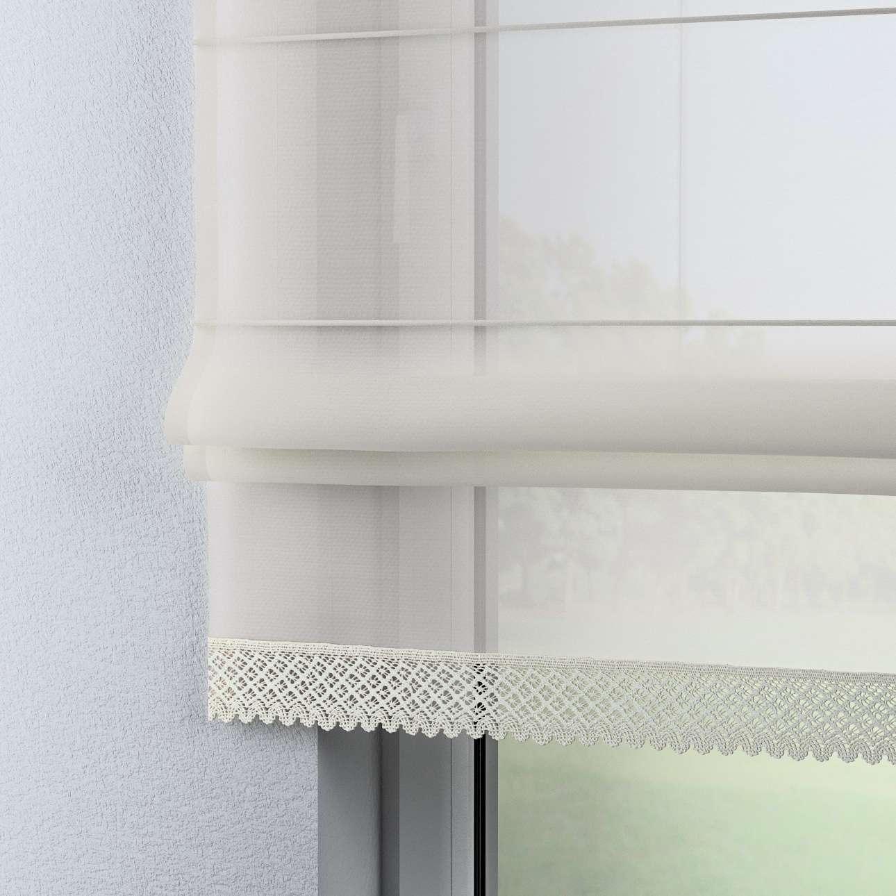 Rímska roleta Lily z voalu biela so širokou čipkou 100x180cm V kolekcii Záclona hladká, tkanina: 900-01