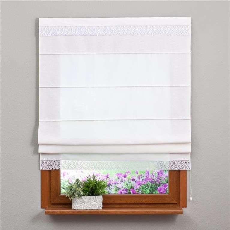 Raffrollo mit Stickerei weiß 80x170cm von der Kollektion Loneta, Stoff: 133-02