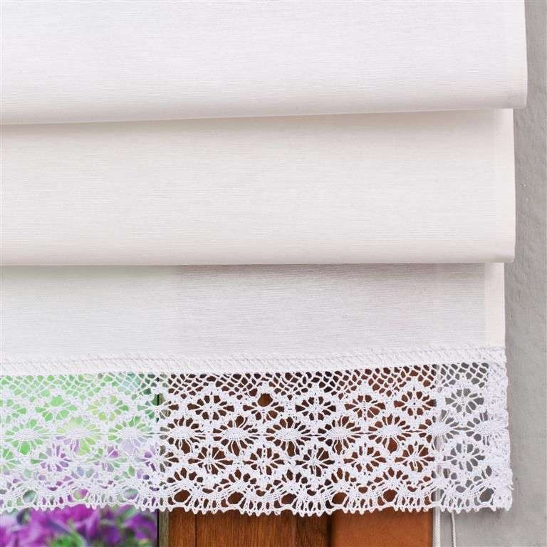 Padva roman blind with lace detail 100 x 170 cm (39.5 x 67 inch) in collection Loneta , fabric: 133-02