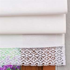 Padva roman blind with lace detail 160 x 170 cm (63 x 67 inch) in collection Loneta , fabric: 133-02