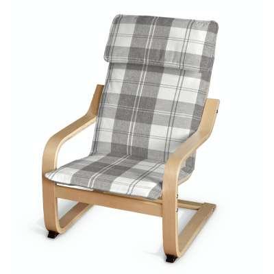 Poduszka na fotelik dziecięcy Poäng 115-79 krata szaro-biała Kolekcja Edinburgh