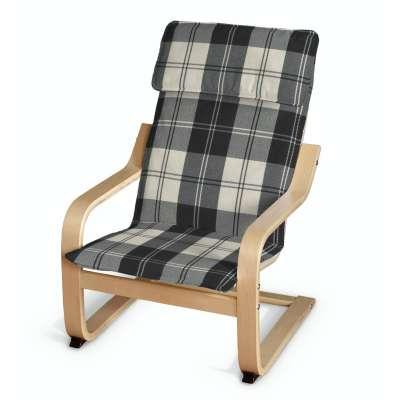 Poduszka na fotelik dziecięcy Poäng 115-74 krata czarno-biała Kolekcja Edinburgh