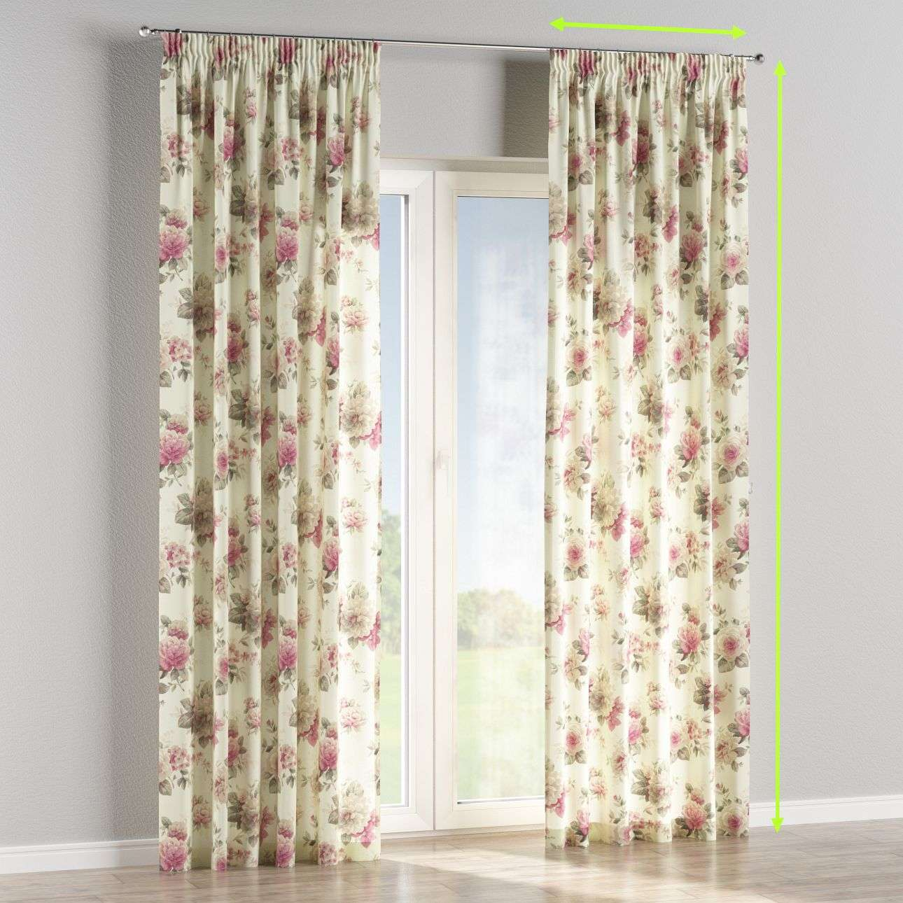 Pencil pleat curtain in collection Londres, fabric: 141-07