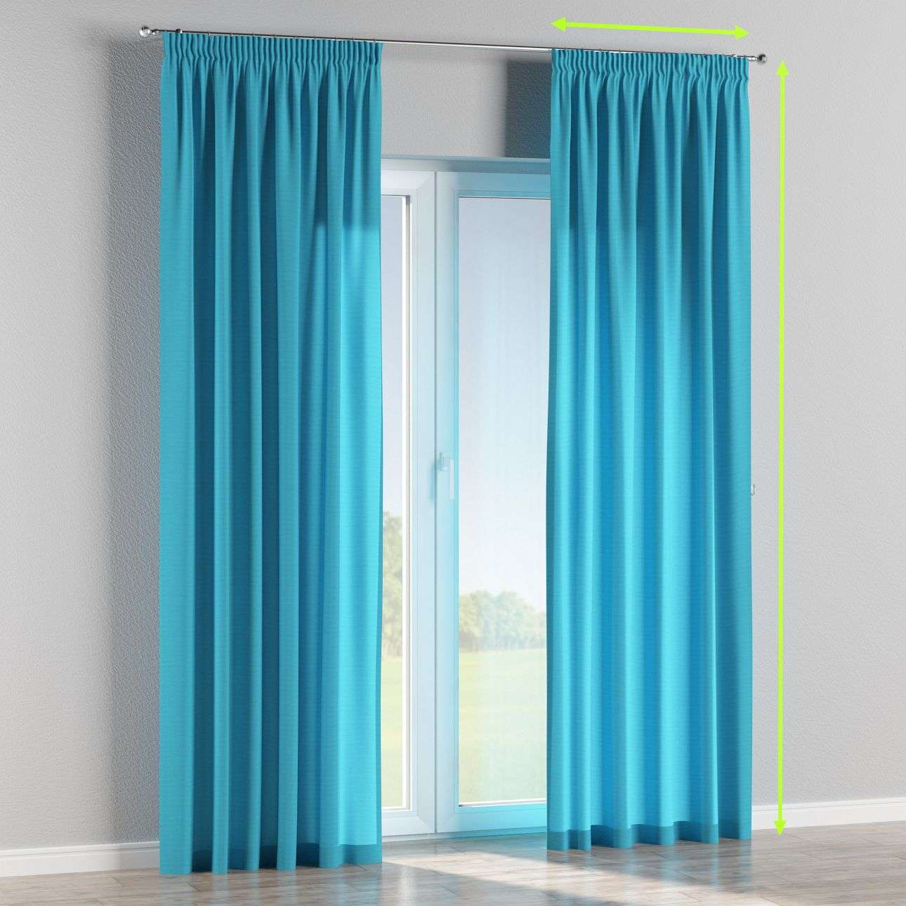 Pencil pleat curtains in collection Jupiter, fabric: 127-70