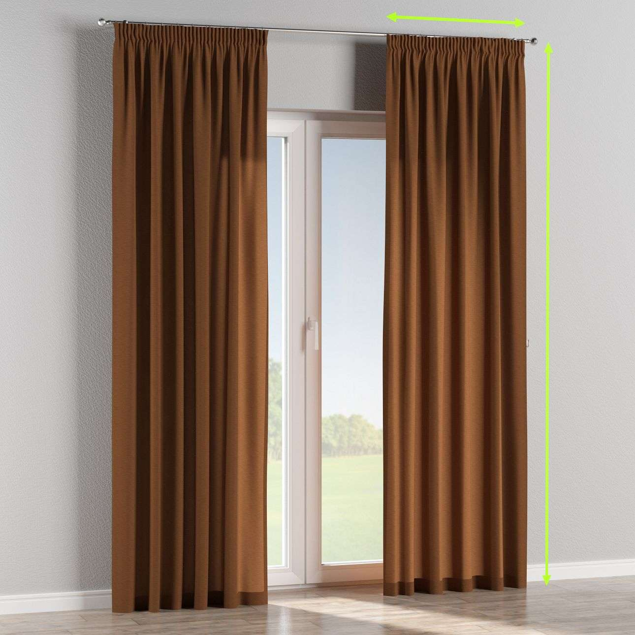 Pencil pleat curtains in collection Jupiter, fabric: 127-88