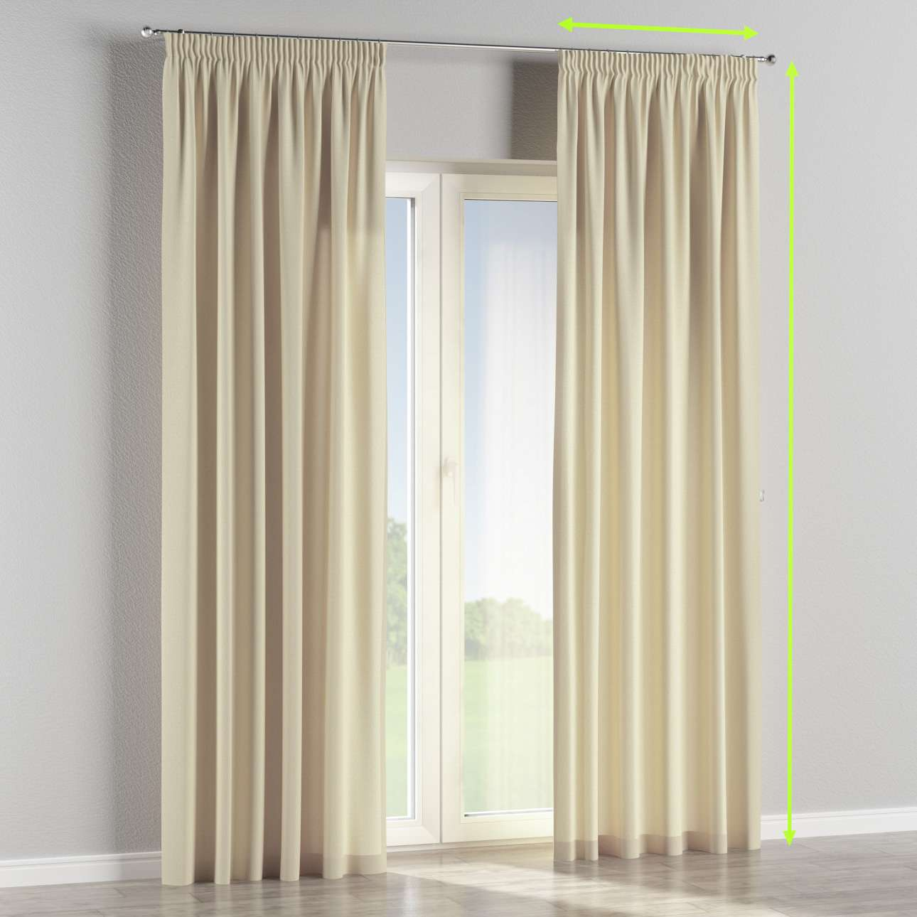 Pencil pleat curtains in collection Chenille, fabric: 702-22