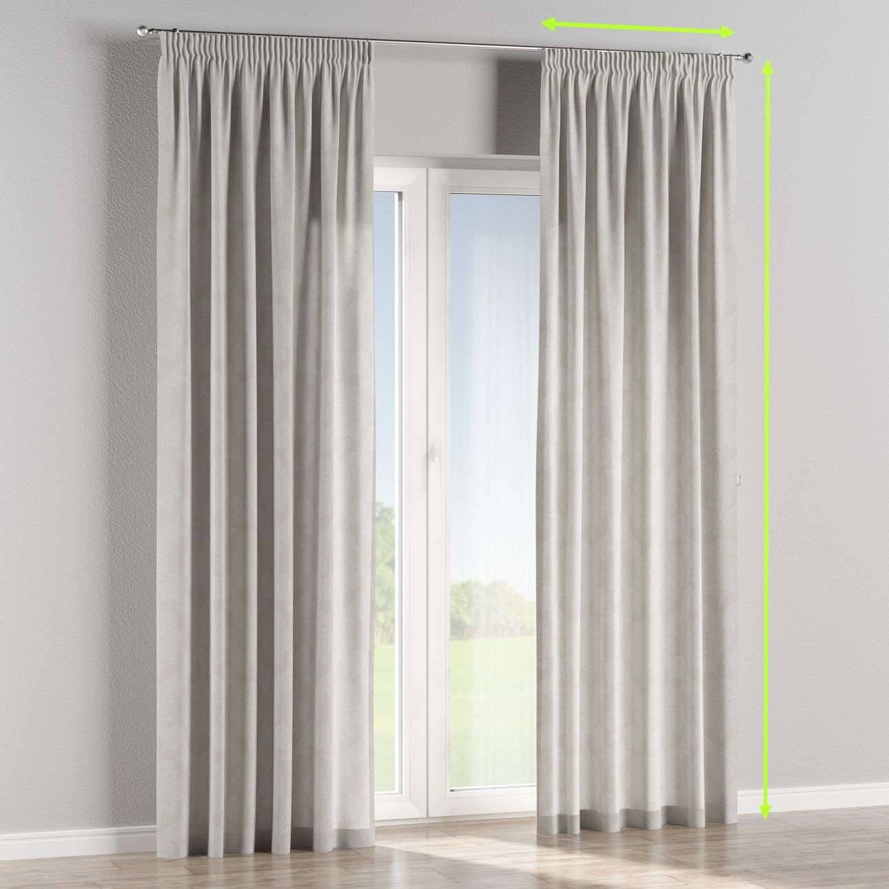 Pencil pleat curtain in collection Damasco, fabric: 613-81