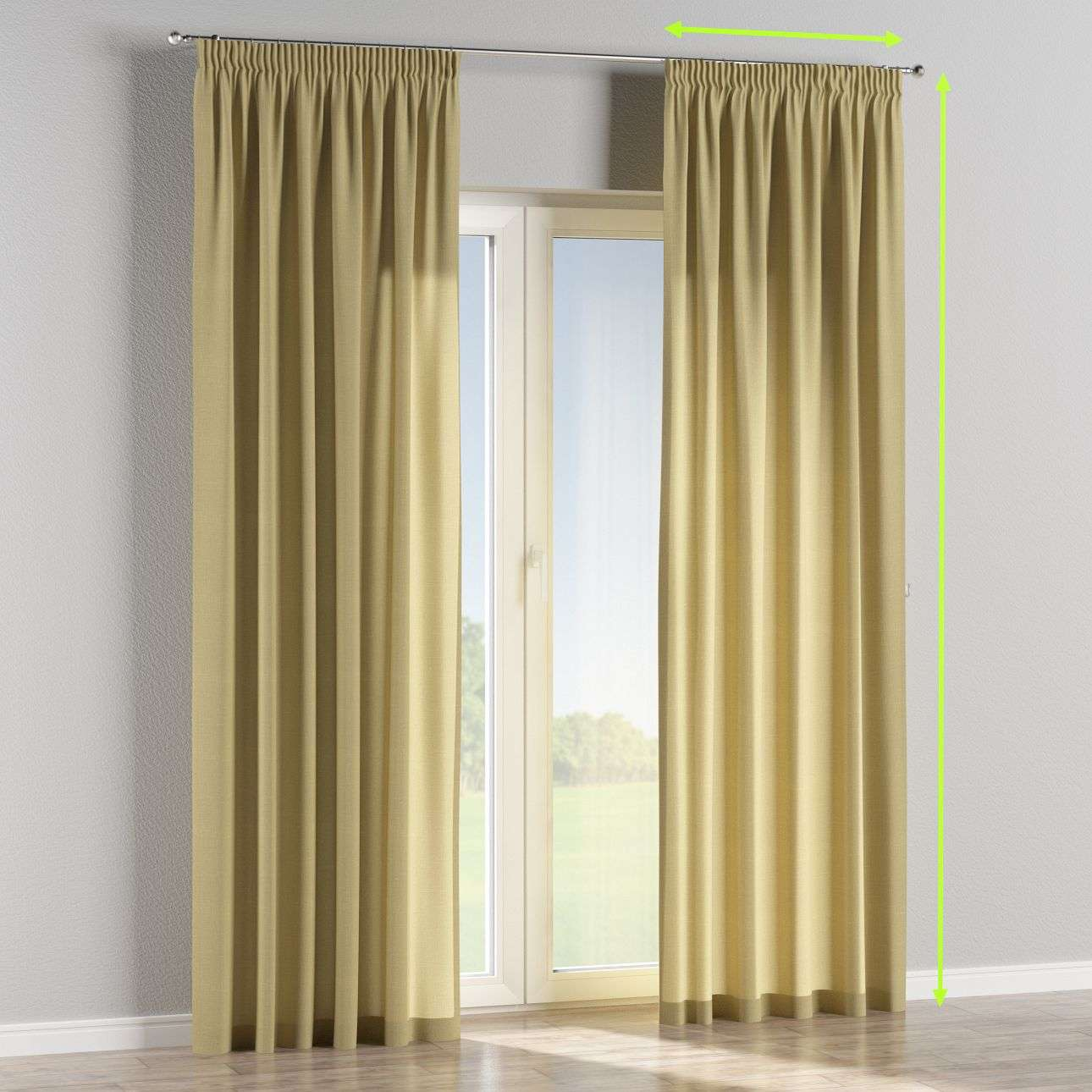 Pencil pleat curtains in collection Cardiff, fabric: 136-22