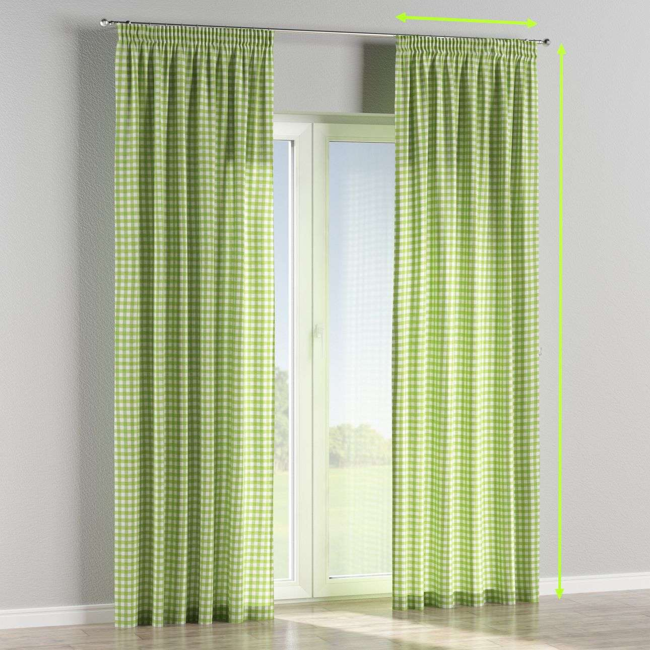 Pencil pleat curtains in collection Quadro, fabric: 136-34