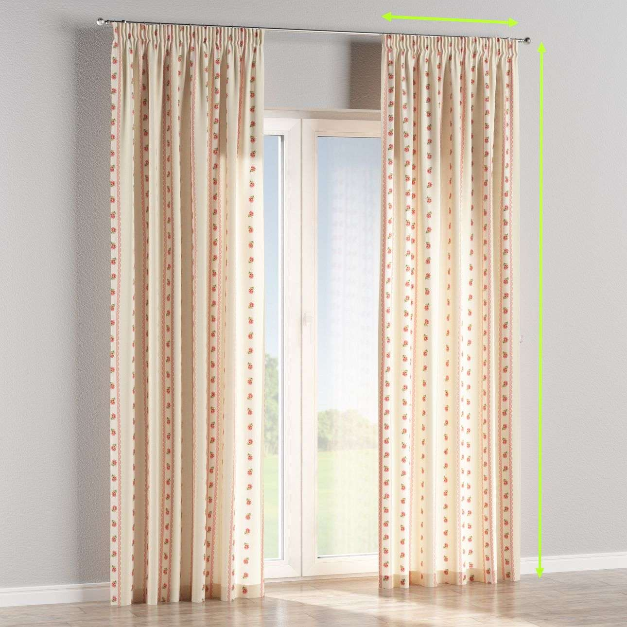 Pencil pleat curtains in collection Ashley, fabric: 137-48