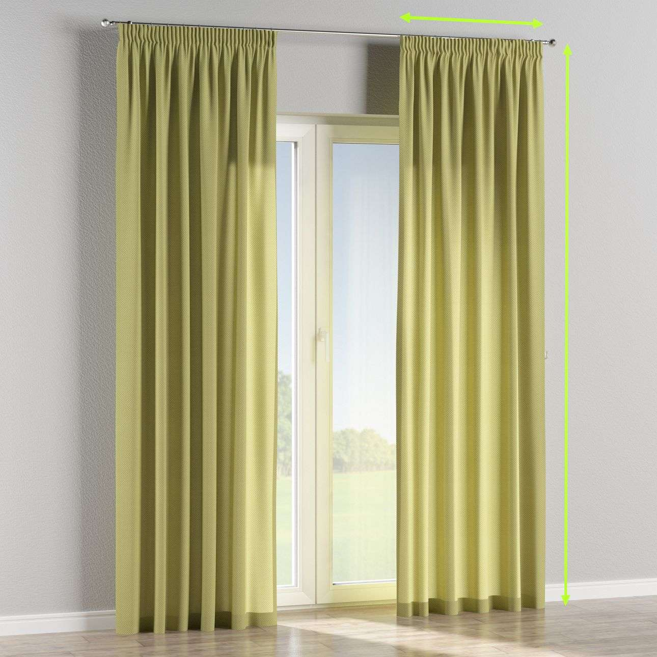 Pencil pleat curtains in collection Ashley, fabric: 137-51