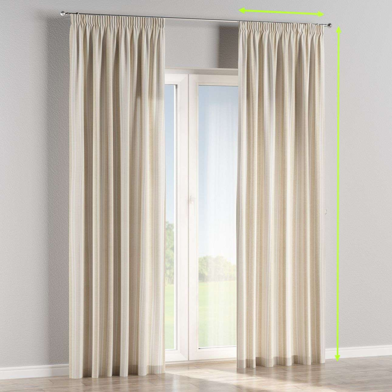 Pencil pleat curtains in collection Rustica, fabric: 138-24