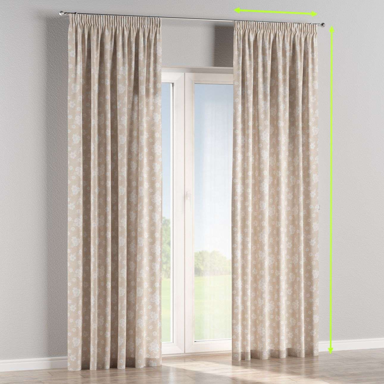 Pencil pleat curtains in collection Rustica, fabric: 138-26