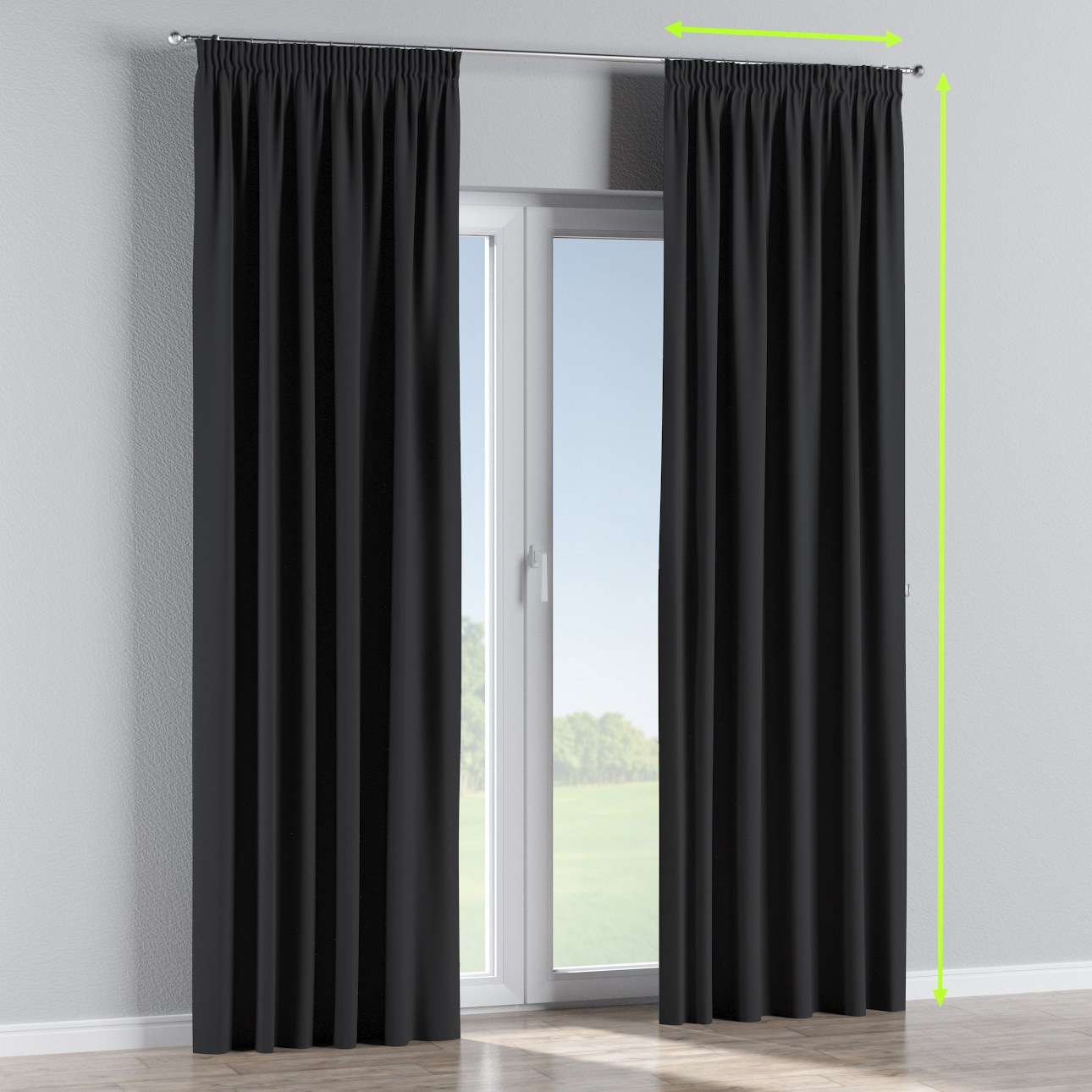 Pencil pleat curtain in collection Blackout, fabric: 269-99