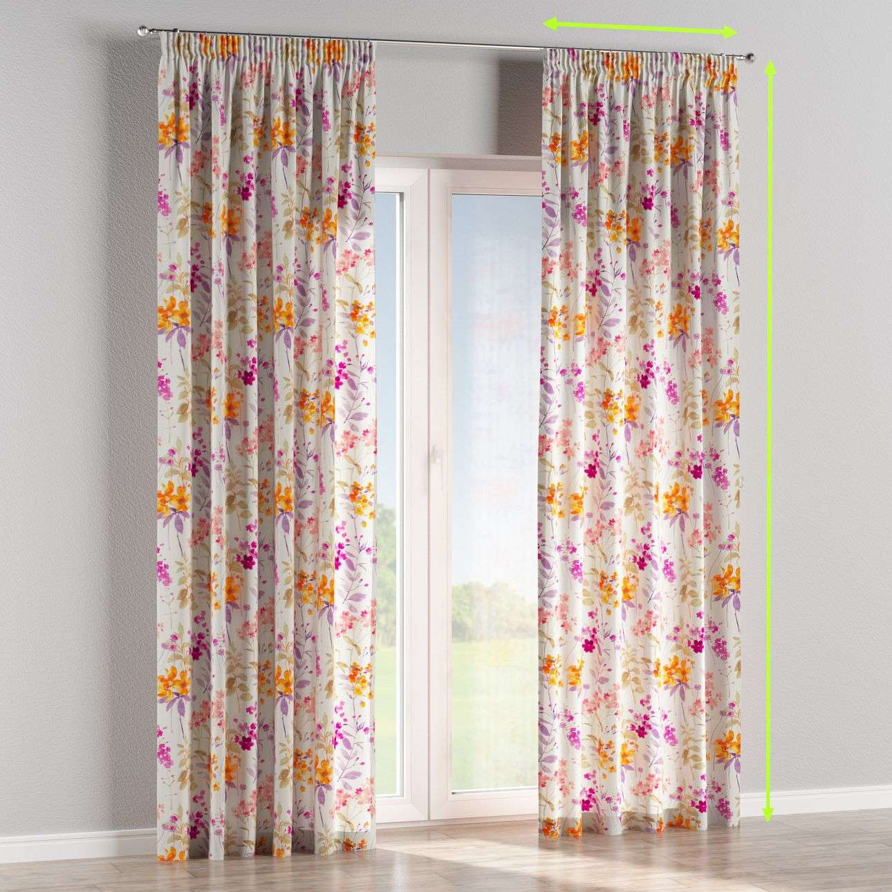 Pencil pleat curtains in collection Monet, fabric: 140-04